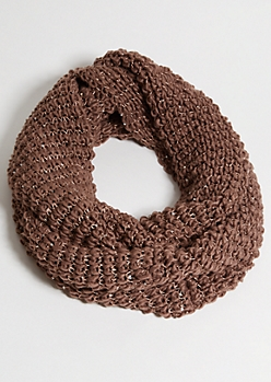 Brown Sequins Infinity Scarf