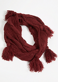 Burgundy Cable Knit Fringe Tassel Infinity Scarf