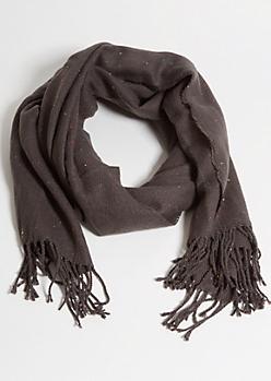 Gray Confetti Marled Knit Blanket Scarf
