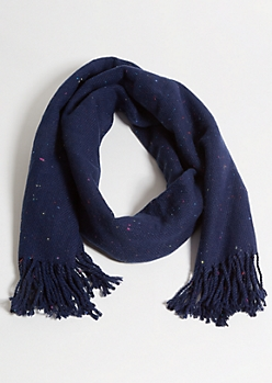 Navy Confetti Marled Knit Blanket Scarf