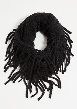 Black Fuzzy Knit Fringed Infinity Scarf