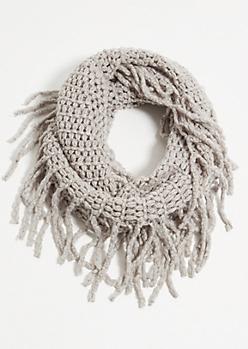 Gray Fuzzy Knit Fringed Infinity Scarf