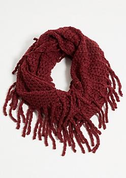Burgundy Fuzzy Knit Fringed Infinity Scarf