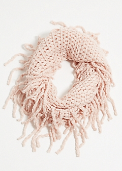 Pink Fuzzy Knit Fringed Infinity Scarf