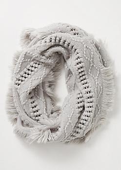 Gray Crochet Fringe Infinity Scarf