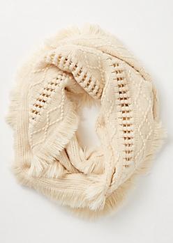 Ivory Crochet Fringe Infinity Scarf