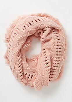 Pink Crochet Fringe Infinity Scarf