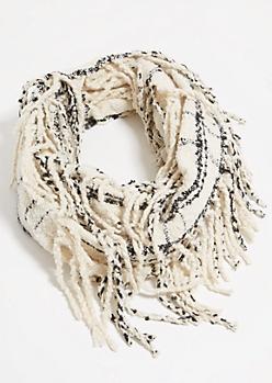 Ivory Plaid Print Fringed Infinity Scarf