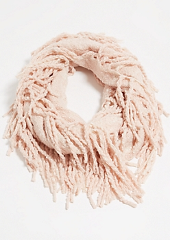 Pink Fringed Infinity Scarf
