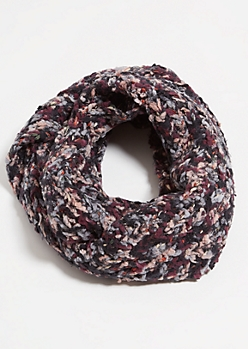 Black Metallic Braided Fleece Infinity Scarf