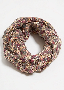 Pink Metallic Braided Fleece Infinity Scarf