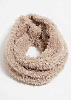 Taupe Twisted Sherpa Cozy Infinity Scarf