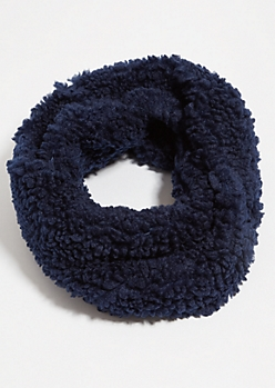 Navy Twisted Sherpa Cozy Infinity Scarf