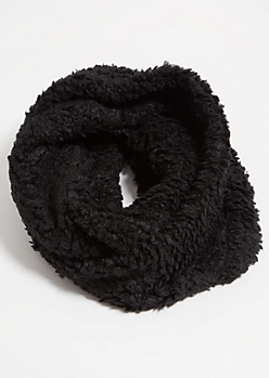 Black Twisted Sherpa Cozy Infinity Scarf