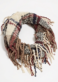 Cream Plaid Print Fringed Infinity Scarf