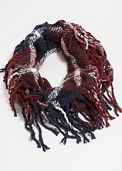 Burgundy Plaid Print Fringed Infinity Scarf