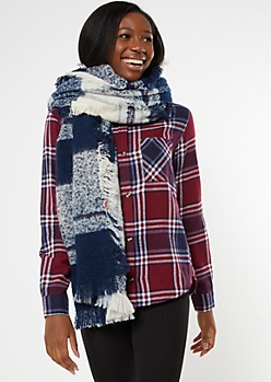 Blue Plaid Fringe Oversized Blanket Scarf