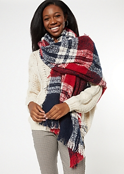 Red Plaid Fringe Oversized Blanket Scarf