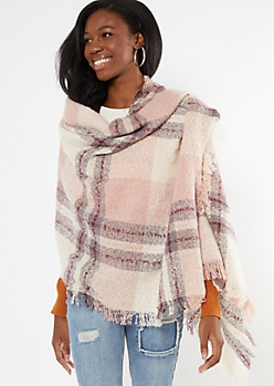 Pink Plaid Fringe Oversized Blanket Scarf