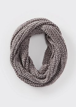 Charcoal Chenille Infinity Scarf
