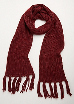 Burgundy Heavy Knit Fringed Scarf