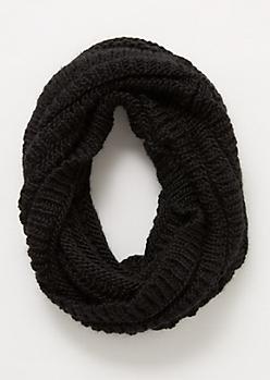 Black Chunky Infinity Scarf