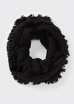 Black Fluffy Fringe Weave Infinity Scarf