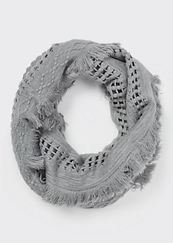 Gray Fluffy Fringe Weave Infinity Scarf