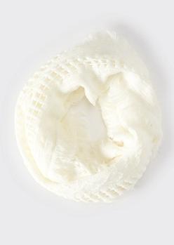 Ivory Fluffy Fringe Weave Infinity Scarf