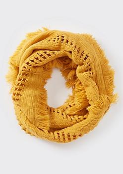 Mustard Fluffy Fringe Weave Infinity Scarf
