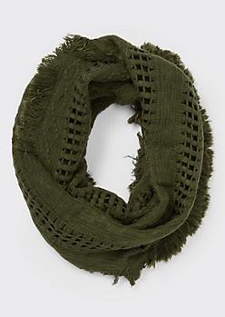 Olive Fluffy Fringe Weave Infinity Scarf