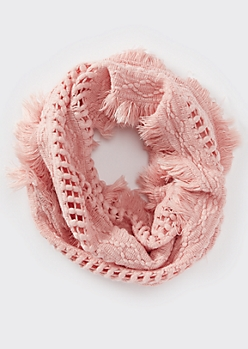 Pink Fluffy Fringe Weave Infinity Scarf