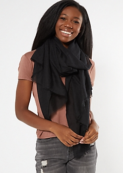 Black Lightweight Fringed Oblong Scarf