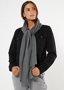 Gray Lightweight Fringed Oblong Scarf