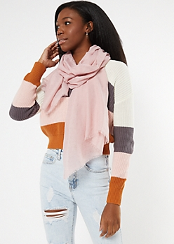 Pink Lightweight Fringed Oblong Scarf