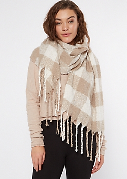 Taupe Plaid Textured Knit Scarf