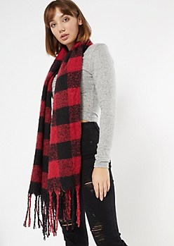 Red Plaid Textured Knit Scarf
