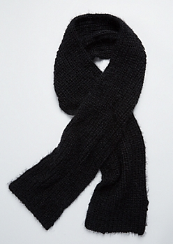Black Eyelash Knit Scarf