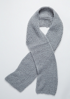 Gray Eyelash Knit Scarf