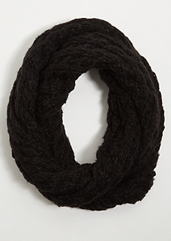 Black Open Knit Infinity Scarf