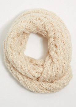 Cream Open Knit Infinity Scarf