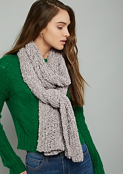 Light Gray Chenille Scarf