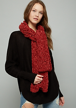 Dark Red Chenille Scarf