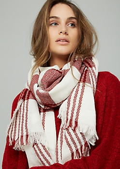 Red Plaid Print Blanket Scarf