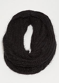 Black Eyelash Knit Infinity Scarf