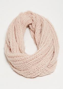 Pink Eyelash Knit Infinity Scarf