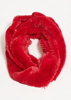 Red Faux Fur Infinity Scarf