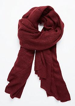 Burgundy Soft Waffle Knit Blanket Scarf