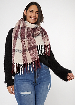 Burgundy Plaid Textured Oversized Blanket Scarf