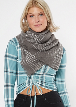 Gray Plaid Textured Blanket Scarf